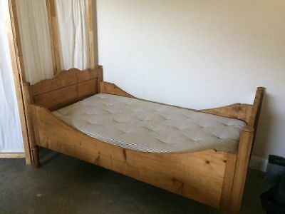 Antique scandinavian sleigh bed with french mattress