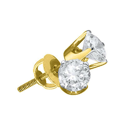 14kt Yellow Gold Womens Round Diamond Solitaire Stud Earrings 1/20 Cttw