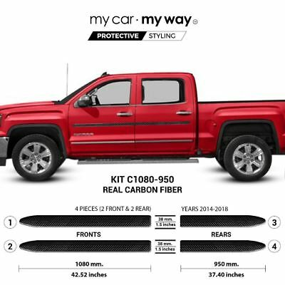 (Fits) GMC Sierra-2014-2018 Short BOX 1500-Crew-Cab Real Carbon Fiber Body Side