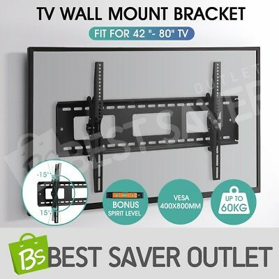 42-80 Inch TV Bracket Slim Tilt Wall Mount Flat LED LCD Plasma VESA Load 60KG