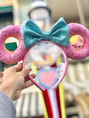 Disney Parks Minnie Mouse Donuts Foodie Pink Sprinkle Glitter Bow Ears Headband