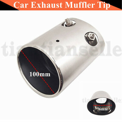 Car Exhaust Muffler Tip Stainless Steel Pipe Trim Rear Tail Throat 76-100mm