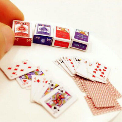 1 Set 1:12 Cute Miniature Dollhouse Mini Poker Playing Cards Style Random