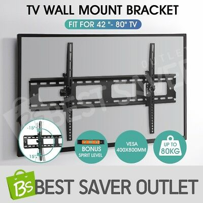 42-80 Inch TV Bracket Plasma VESA LED LCD Slim Tilting Flat Wall Mount Load 60KG
