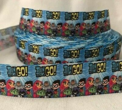 """Teen Titans Go Grosgrain Ribbon 1"""" wide sold by 2 M -Craft - Cake etc"""