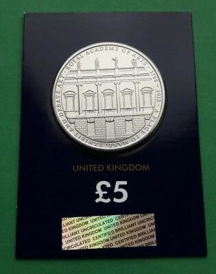 2018 The Royal Academy of Arts 250 years UK Five Pound £5 BU Coin Certified RARE