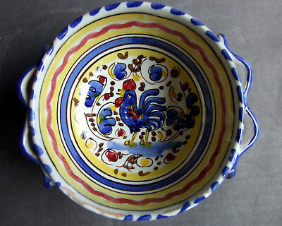 vintage ceramic hand-painted pottery Italy Deruta style cock rooster bowl Hahn 1