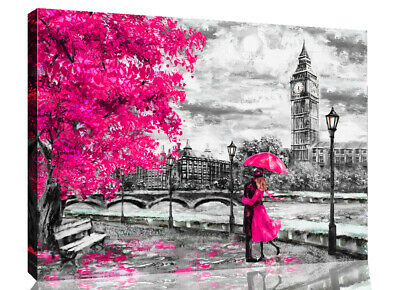 London Oil Painting Artwork Big Ben Pink Umbrella Canvas Wall Art Picture Print
