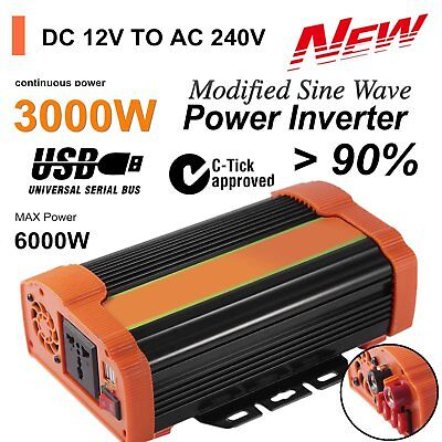 3000W Power Inverter DC12V to AC240V 5V/4.8A USB Port + Car Battery Charger KB