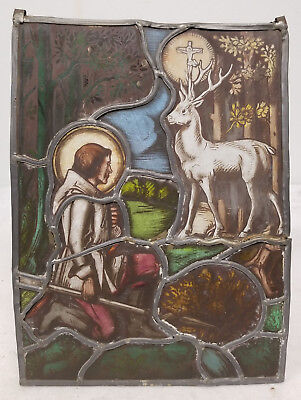 Antique 19th Century German Stained Glass Window Religious Scene Stag Deer