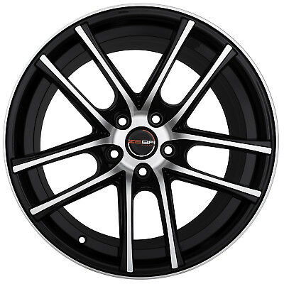 Set Of 4 Wheels 18 Inch Gloss Black Machined Rims Fit Bmw 5 Series