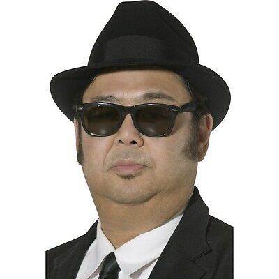 383d2dc6 Men's 80's Blues Brothers Hat & Glasses Sunglasses Costume Fancy Dress Stag  Fun