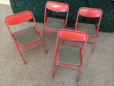 Surprising 2 Vintage Metal Folding Chairs Stylaire 1955 Hamilton Cosco Caraccident5 Cool Chair Designs And Ideas Caraccident5Info