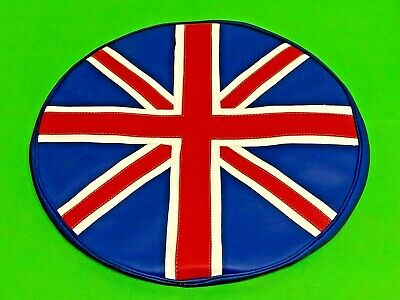 Vespa & Lambretta Leather Union Jack Flag Design Spare Wheel Cover 10 Inch