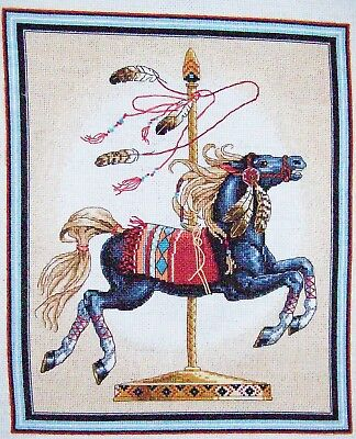"Finished unframed Counted Cross Stitch Southwest Carousel Horse 11"" x 14"""