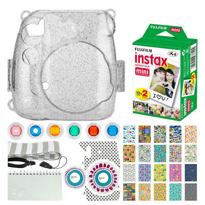 Fujifilm instax mini Instant Film (20 Exposures) + Glitter Case + Album + Strap