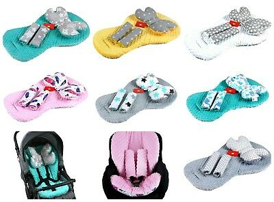 3 pc - Stroller / Buggy /Car seat/ Pushchair Liner / Mat + Pillow + Belts Covers