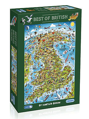 Gibsons Best Of British 1000 Piece Jigsaw Puzzle New  G7096 Map Hartwig Braun