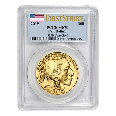 2019 1 oz Gold American Buffalo PCGS MS 70 First Strike