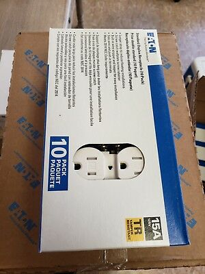 NEW COOPER  TR270W  SAFETY PLUG,  DUPLEX  RECEPTACLES  15A, 125V  10-Pack