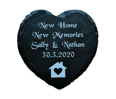 Personalised Engraved Slate Heart Our First Home, New House Warming Gift