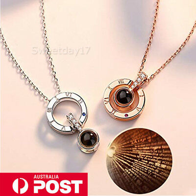I LOVE YOU in 100 languages Word 925 Silver Gold Pendant Necklace For Memory OZ