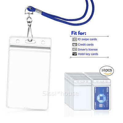 10PCS Plastic ID CARD BADGE HOLDER POUCH Clear PVC Lanyard Work Zip Lock OZ