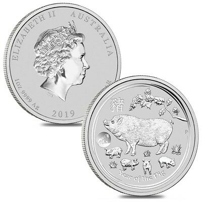 Lot of 2 - 2019 1 oz Silver Lunar Year of The Pig Lion Privy BU Australian Perth