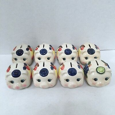 Lot of 8 Vintage Ceramic Piggy Coin Bank Pigs with Fruit Design Careful Shipping
