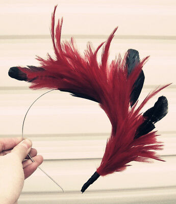dark red feather headband fascinator millinery wedding hat bridal party ascot