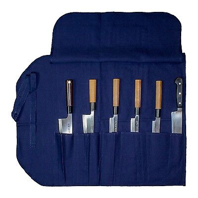 "Japanese Canvas Chef Knife Pocket Carry Roll (6 Slots 19"" Long)"