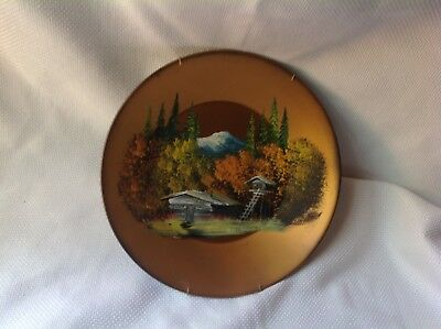 Vintage Oil Painting Of Cabin In Woods On Tin Pan