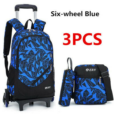 3Pcs Kids Teenagers Boy School Bags Removable Trolley Backpack Bag With Wheels