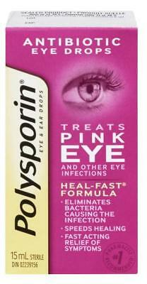 Polysporin Antibiotic Eye Drops Treats Pink Eye 15 ml Heal-Fast Formula NEW