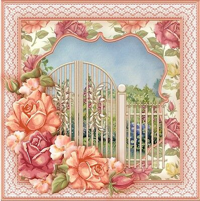 A Beautiful Peachy Pink Garden Gate Birthday Card