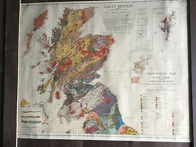 """Very Large Geological Map of Great Britain In 2 Parts Scale 1"""" to 10 Miles 1951"""