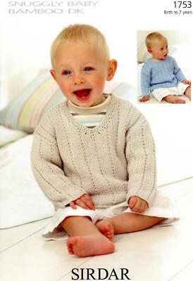 965d481f7605 1753 SIRDAR SNUGGLY Baby Bamboo Dk Boy Baby Sweaters Knitting ...