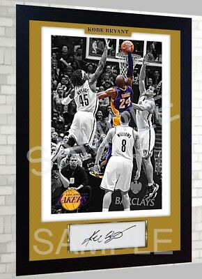 LA Lakers Kobe Bryant NBA signed poster pre-print autograph Basketball FRAMED