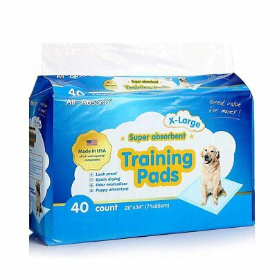 Puppy Pet Training Wee Pad 28x34in 40 Pack X Large Dog Pee Car Travel Leak Proof