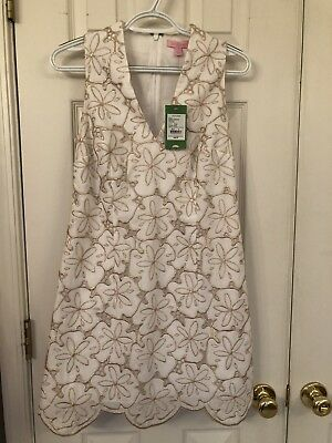 ea0cf0b3673 NWT Lilly Pulitzer Estella Shift Dress White Metallic Sand Dollar  298 sz 6