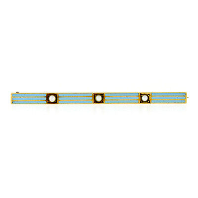 Antique Art Nouveau 14k Yellow Gold Natural Pearl & Blue Enamel Bar Pin Brooch
