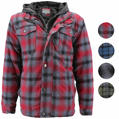 Vkwear Men S Quilted Lined Cotton Plaid Flannel Layered Zip Up