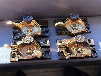 NOS FOUR (4) Original Antique Victorian Iron and Brass Window Sash Locks