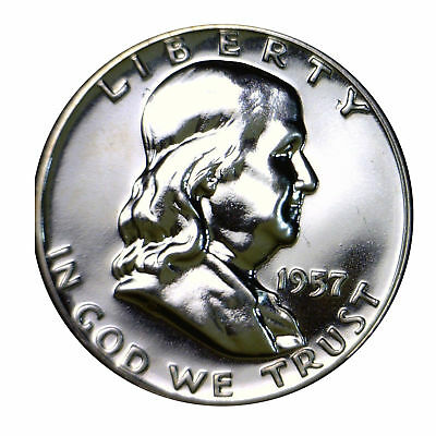 1957 Franklin half dollar Gem 90% Silver Proof