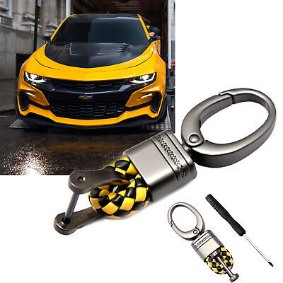 Black Yellow Leather Gunmetal Fob Remote Braided Strap Snap Ring Keychain Holder