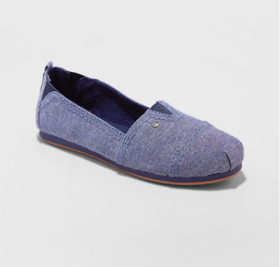 New Mad Love Sommer Slip On Canvas Sneakers Flats Blue Girls Size 13 1 4