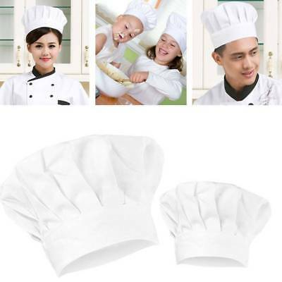 Adult Kids Elastic White Chef Hat For Party Kitchen Baking Cooking Costume Caps