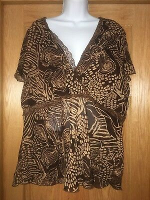 5daf5fd185c LANE BRYANT PRINTED Peasant Top w  Crochet Insets Women s Plus 26 28 ...