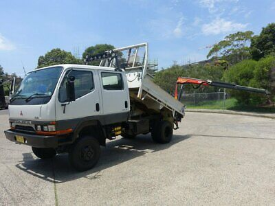 1997 Mitsubishi Canter 4x4 With Crane Tipper White 5sp M Crew Cab Chassis