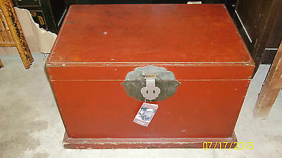 Large Red Chinese Antique Trunk / Chest - Original Metal Work - needs TLC